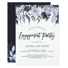 #trendy - #Dark Floral | Modern Watercolor Engagement Party Card