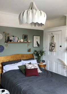 Small update: a new shade of Green in the bedroom Green Bedroom Walls, Green Master Bedroom, Tranquil Bedroom, Bedroom Wall Colors, Room Ideas Bedroom, Home Decor Bedroom, My New Room, My Room, Brown House