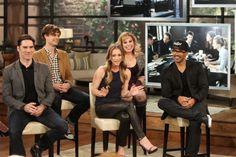 Criminal Minds Cast on The Talk celebrating their 200th episode Feb. 5. 2014. Thomas Gibson, Matthew Gray Gubler, A.J. Cook, Kristen Vangsness and Shemar Moore.