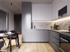 Grey Kitchen Designs, Luxury Kitchen Design, Kitchen Room Design, Home Room Design, Kitchen Layout, Interior Design Kitchen, Kitchen Decor, Kitchen Modular, Modern Kitchen Interiors