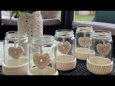 Mason Jar Crafts, Bottle Crafts, Mason Jars, Crochet Crafts, Crochet Projects, Knit Crochet, Crochet Jar Covers, Paris Crafts, Metal Clock