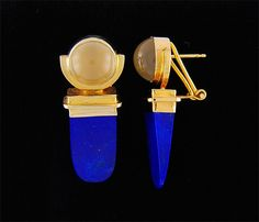 Afghanistan Lapis Lazuli 20 mm x 10 mm 10 mm Round Cats Eye Moonstones in14K Yellow Gold Lever back Post Earrings