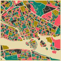Le mappe astratte della città di JazzberryBlue