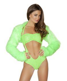 Lime Faux Fur Shrug