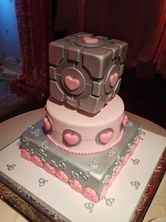 I was excited and extremely pleased I was able to get a Companion cube wedding cake! It turned out soooo nice.  We cut the cake to a cover of 'Still Alive', only my friends got the joke, but it was an epic moment for sure.