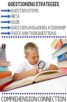 Questioning can be taught with a variety of methods. In this post, these questioning techniques are explained. Reading Comprehension Activities, Comprehension Strategies, Reading Resources, Reading Strategies, Teaching Reading, Classroom Resources, Teaching Ideas, Guided Reading, Book Activities