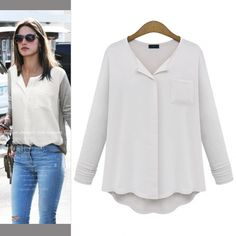 New Women Fashion Long Sleeve Tops Shirt Casual Loose Splicing Chiffon Blouse  http://www.wholesalebuying.com/product/new-women-fashion-long-sleeve-tops-shirt-casual-loose-splicing-chiffon-blouse-146107