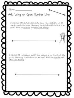 Here's a set of open number lines for use in solving problems ...