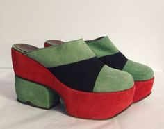 Vtg 1960s/70s MOD Suede Platform Shoes,  Made in Italy, 6 1/2, Fabulous!! #Heels