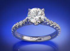 Round Diamond Cathedral Engagement Ring with a Surprise Diamond, 0.45 tcw. In 14K White Gold
