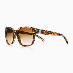 Tiffany Ritz square sunglasses in tortoise acetate with Austrian crystals.