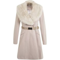 Miss Selfridge Faux Fur Collar Belted Coat (145 BAM) ❤ liked on Polyvore featuring outerwear, coats, jackets, tops, cream, cream coat, miss selfridge, pink coat, belt coat and coat with belt
