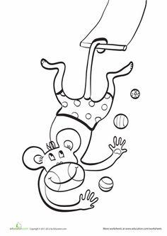 trapeze monkey coloring page