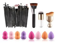 23 Piece Makeup Brush Set plus 8 Blender Sponges - Deals and Liquidations