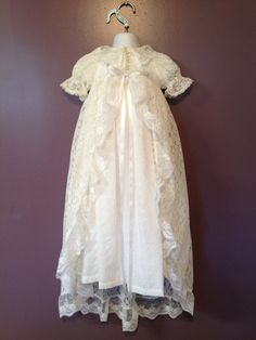 9a8c334e1 Baby Christening Gown with Lace Coverlet by MoonTreeSpecialties, $150.00  Baby Christening Outfit, Lace Christening