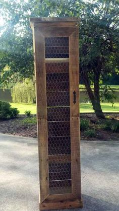 Made from pallets and chicken wire. Could be used for a small pantry if you don'. Made from pallets and chicken wire. Could be used for a small pantry if you don't have one built in. Pallet Furniture, Furniture Projects, Rustic Furniture, House Furniture, Furniture Stores, Cheap Furniture, Furniture Design, Pallet Crates, Wooden Pallets