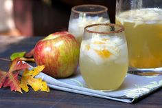 Honeycrisp Apple Sangria (Peach schnapps was a bad choice. Stick with more of a traditional sangria recipe next time. Fall Drinks, Party Drinks, Cocktail Drinks, Holiday Drinks, Holiday Sangria, Fall Sangria, White Sangria, Kid Drinks, Fall Cocktails