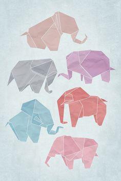 Origami Elephants Poster