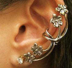 Ear cuff - Blommor (guld)