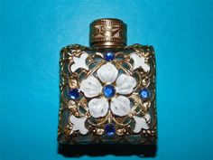 Vintage 1920 Mini Perfume Czech Bottle Blue Enamel Glass Dauber Filigree Parfum   eBay