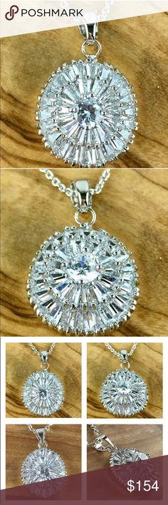 """STUNNING WHITE SAPPHIRE ROYAL BALLERINA NECKLACE NEW STUNNING AND GENUINE WHITE SAPPHIRE PENDANT """"ROYAL BALLERINA"""" 5 CTW MEASURES APPROX .75"""" WEIGHS 18 GRAMS 14K WGF CHAIN IS APPROX 18-20"""" includes velvet gift box Jewelry Necklaces"""