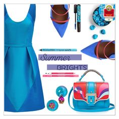 """Summer Brights"" by simona-altobelli ❤ liked on Polyvore featuring Theia, Malone Souliers, Paula Cademartori, Betsey Johnson, Rimmel, NYX, Lancôme, MyStyle, polyvorecontest and summerbrights"