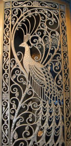 Art Nouveau Door with peacock | JV