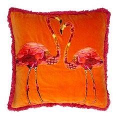 Abigail Ahern/EDITION Designer orange velvet flamingo cushion- at Debenhams.ie