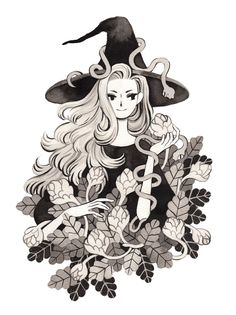 Botanist witch and her serpent familiars