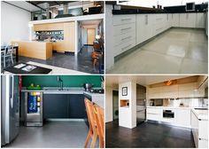 Várias cozinhas com piso de cimento queimado