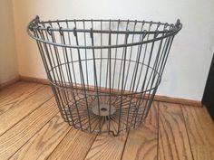 Vintage Metal Wire Egg Or Apple Basket Large Primitive Rustic   | eBay