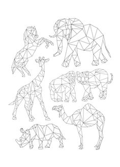 geometric animal drawings