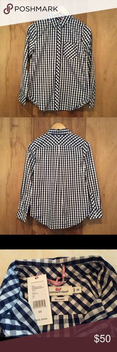 Vineyard Vines Navy Gingham Button-Down Vineyard Vines relaxed fit button down in a classic navy blue gingham. Brand new with tags attached. Vineyard Vines Tops Button Down Shirts