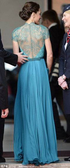 Duchess Kate in a blue Jenny Peckham gown