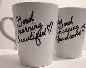 Latte mug couple set of 2 Personalized mug set