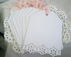 Vintage Inspired Doily Lace Note Cards, Handmade Embossed 12 Card Set - something like this would be cute attached to wedding favors. Christmas Gift Tags, Christmas Packages, Diy Christmas, Holiday, Paper Lace, Paper Doilies, Wedding Paper, Wedding Cards, Card Tags