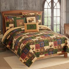 The Lodge Full/Queen Quilt Patchwork Moose Bear Deer Rustic Cabin Plaid Oars Plaid Bedding, Ruffle Bedding, Moose Quilt, Wildlife Quilts, Twin Quilt, Quilt Sets, Duvet Cover Sets, Pillow Covers, Bed Sets