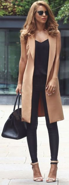 nude, black, casual, chic, outfit, idea, nada, adell
