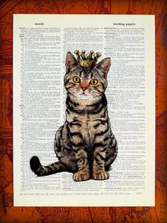 DIGITAL PRINT - Cat Print, Cat Decor, Cat Wall Decor, Cat Collage, Cat Wall Hanging, Kitten, Upcycled Book Page Art Print - Sitting Cat King. $10.00, via Etsy.