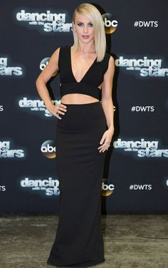 Julianne Hough flaunted her toned abs in a sexy black dress by Solace London with peek-a-boo cutouts.