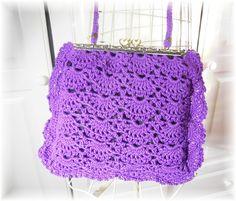 Sac au crochet coton violet strass Vintage Rétro