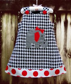 Alabama Roll Tide A-Line Dress by Ruby Pearl Boutique Style Baby / Girl / Toddler Clothing, Girl /Toddler Alabama Houndstooth Dress
