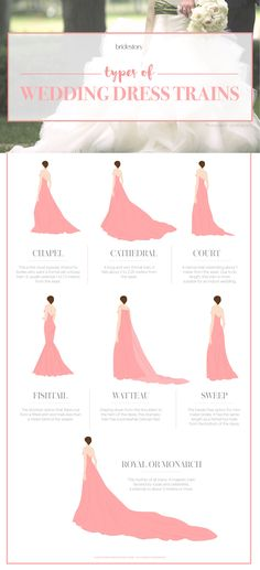 wedding dress train length guide // what every bride should know before wedding dress shopping Wedding Dress Types, Wedding Dress Train, Perfect Wedding Dress, Wedding Dress 2018, Simple Wedding Veil, Wedding Dress Drawings, Cathedral Wedding Dress, Wedding Drawing, Cathedral Train