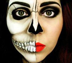 tuto-du-maquillage-de-Halloween -demi-visage