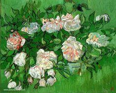 van gogh flowers paintings | Vincent Van Gogh : Les Roses Reproduction de Tableaux Copie Tableau de ...
