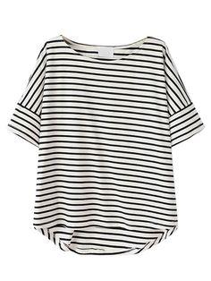 Monochrome Stripe Short Sleeve Dipped Hem T-shirt Rayures, Noir, Robe T- 37c58def8b7