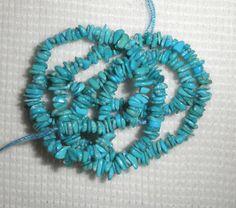 "Small Sleeping Beauty Turquoise 4mm to 6mm Chip Gemstone Beads Blue 18"" Std #144 #SleepingBeauty #Southwest"