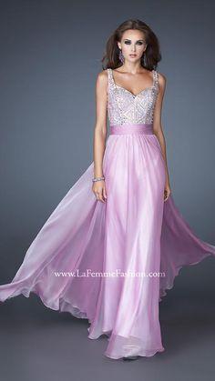 {La Femme 18713 | La Femme Fashion 2013} - La Femme Prom Dresses - Beautiful - Flowy - Beaded Top - Sequins -Empire Waist - Sweatheart - Straps - Long Prom - Homecoming - Pageant - Bridesmaid