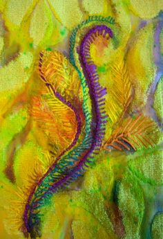 Nicky Perryman: yellow velvet sample adj 650 Entanglement. Inspiring thougts about embroidery