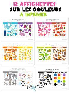 Pour la classe ou la maison, Momes a créer ses 12 affichettes sur les couleurs. 11 affichettes couleurs + 1 affichette sur les mélanges des couleurs primaires + le noir et blanc. Un petit mémo très pratique à afficher pour les enfants de maternelle.